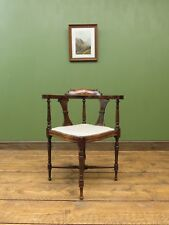 Edwardian Rosewood Corner Chair with new upholstery