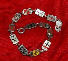 Vintage Sterling Silver & Enamel German Travel Charm Bracelet * 13 Cities
