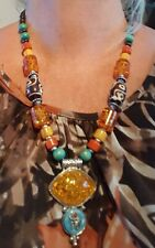 Silver Plated Multi Coloured Beads and Simulated Amber Necklace