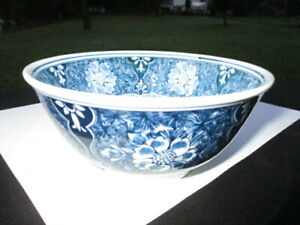 """#1- JAPANESE ASIAN RICE BOWL 6"""" BLUE JEAN BLUE & WHITE FLORAL TAPESTRY"""