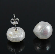 huge 13-14 mm white southsea reborn keshi pearls earrings 925 silver stud