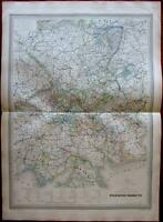 Eastern Germany 1859 fine old large vintage antique hand color map