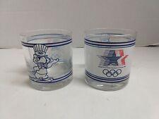 Set of 2 Vintage 1984 Olympics Rocks Glasses Sam The Eagle Los Angeles CA