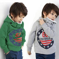Kids Boys Winter Warm Hoodies Hooded Sweatshirt Thick Pocket Tops Jumper Clothes