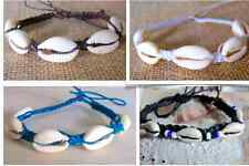 COWRIE SHELL BEADS BRACELET ANKLET BLACK COTTON  beach fashion surfer girl women