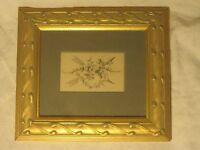 vintage framed matted print wood glass ornate frame art wall decor Robert Grace