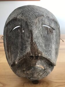 Antique Primitive  Vintage Chalkware  Plaster Eskimo Spirit Mask Headdress Old