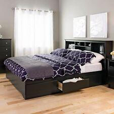 King Size Bedframe Platform Bedroom Furniture Storage Bed 6 Drawers Wood Black