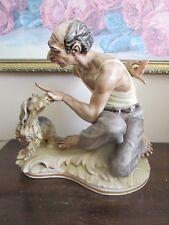 Vintage Sundizell S. Matt Germany Handpainted Porcelain Figurine Man Dog Signed