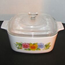 Corning Summer Blush 1 QT Square Casserole with Clear Lid A-1-B A-7-C Vintage