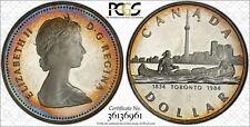 1984 CANADA TORONTO $1 SILVER DOLLAR BU PCGS PR65D CAM NICE ROUND TARGET TONED!