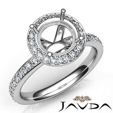 Round Semi Mount 0.6Ct Diamond Vintage Engagement Ring 14k White Gold Halo Pave