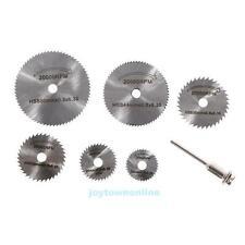 7PCS 22-50mm HSS Rotary Circular Saw Disc Wheel Cutting Blades Mandrel Tool Set