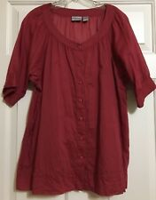 Chico's size 2 red short sleeve button up top women's
