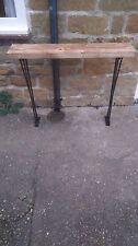 Bespoke H85x W100 x 20cm steampunk rustic black industrial steel console table