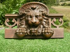 SUPERB 19thc LARGE WALNUT WOOD CARVED GOTHIC LION HEAD