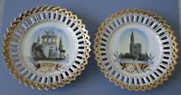 LOT 2 ASSIETTES  PORCELAINE BORDS  DENTELLE DOREE SOUVENIR STRASBURG