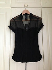 NEXT black net lace hook & eye corset top blouse goth gothic victorian 12 BNWT
