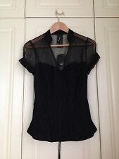 NEXT black net lace hook & eye corset top blouse goth gothic victorian 12 BNWT