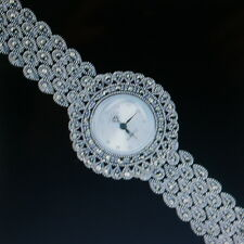 """Superb 925 Silver Wrist Watch With Marcasite 26.6 Grams 7"""" Inch Wide In Gift Box"""