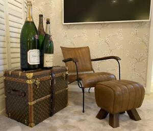 Genuine Leather Brown Feature Accent Armchair - Vintage Retro Modern Designer