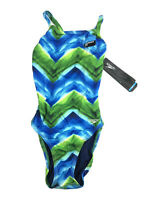 Speedo, Women's Flyback One Piece Swimsuit, Green, Blue, Size 26