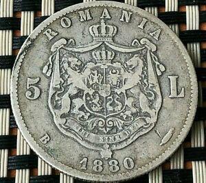 ROMANIA SILVER 5 LEI 1880 CAROL I 1881-1914 AD VERY SCARCE COIN.