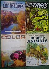 Walter Foster Art Bks 4 Vtg Landscapes#8 MoreTrees#55 HoofedAnimals#78COLOR#76