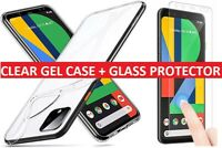 For Google Pixel 4 / 4XL Clear Gel Case Cover + Tempered Glass Screen Protector