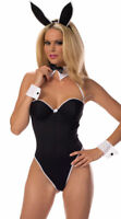 SEXY PLAY BUNNY TEDDY WITH CUFFS EARS & BOW TIE OUTFIT COSTUME S-L YOU PICK SIZE