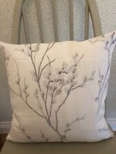 """16"""" cushion cover made in Laura Ashley  """" Pussy Willow """" Off White Steel fabric"""