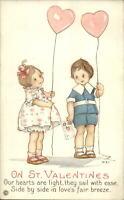 Valentine - MEP Margaret Evans Price Childen Heart Balloons Postcard c1910