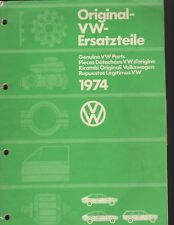 Volkswagen Illustrated Catalog of Genuine VW Parts 1974 - see description