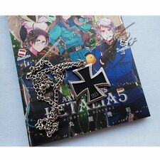 APH Axis Powers Hetalia German Prussia Metal Black Cross Necklace Cosplay Chain