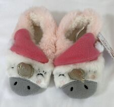 New Unicorn Christmas Holiday Santa Hat Slippers Toddler Girls Size M/L 7-8.5