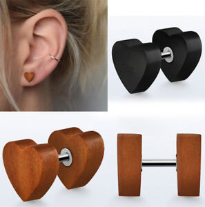 1-4Pairs Illusion Earrings Heart Shape Cutout Faux Gauges Wood Plug Jewels 0-00G