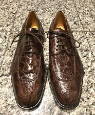 Saks Fifth Avenue Brown Crocodile Men's Oxfords Shoes