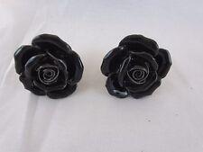2 Black Rose Ceramic Knobs Kitchen Cabinet Drawer Pulls Furniture Handles Flower