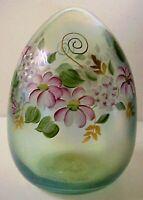 Fenton Art Glass Iridized 5 Inch Green Floral Blown Glass Easter Egg  MIB 1992