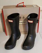 Hunter-Original Short-Black Matte Rubber Rain Boots-Womens Size 7