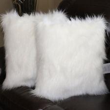 "2pcs Faux sheepskin Fur Square White  Pillowcase Cushion 18""x18"" & fabric back"