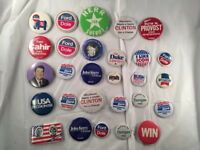 Lot of 28 Vintage 90s Political Campaign Buttons Pins Clinton Dole Kerry Reagan