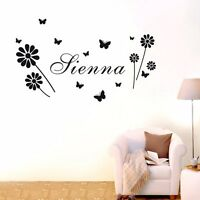 Custom Personalised Name Flower Butterfly Wall Art Sticker Kids Decal Decor DIY