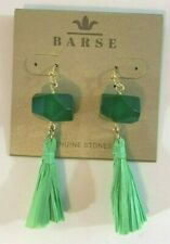Barse Brand Bronze Green Jade Faceted Stone Green Color Raffia Tassel Earrings