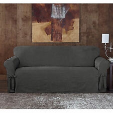 Sure Fit® Designer SuedeTwill Sofa Slipcover in Grey