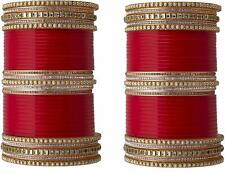 Women,s Red Bangles with Kundan Stones and Bindi Style.Marriage Bridal Trad