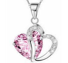 Family Gift New Silver Chain Crystal Love Heart Pendant Necklace Jewelry Charm