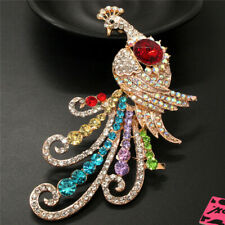 Betsey Johnson Charm Brooch Pin Gifts Rhinestone Peacock Color Crystal Animal
