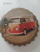 Blechschild Wandbild Kronkorken, VW Bulli