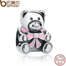 Authentic 925 Sterling Silver Charms Pink Pretty Bear Fit Bracelets Black Friday